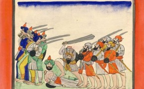 Historic-Painting-of-Sikhs-Defending-Against-Muslim-Afghan-Forces