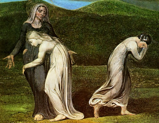 """""""Naomi entreating Ruth and Orpah to return to the land of Moab"""" by William Blake, 1795"""