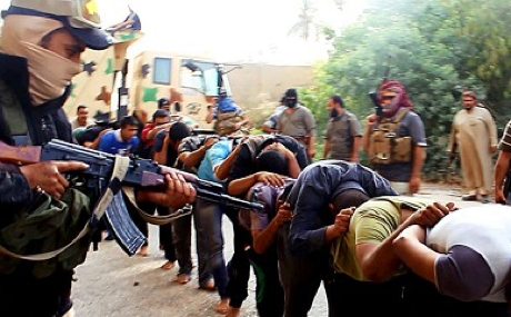 An ISIS photo purporting to show the execution of Iraqi Shias
