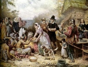 "According to The History Channel, ""In 1621, the Plymouth colonists and Wampanoag Indians shared an autumn harvest feast which is acknowledged today as one of the first Thanksgiving celebrations in the colonies."" However, they also note that ""although this feast is considered by many to the very first Thanksgiving celebration, it was actually in keeping with a long tradition of celebrating the harvest and giving thanks for a successful bounty of crops."""
