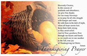 A Thanksgiving prayer.