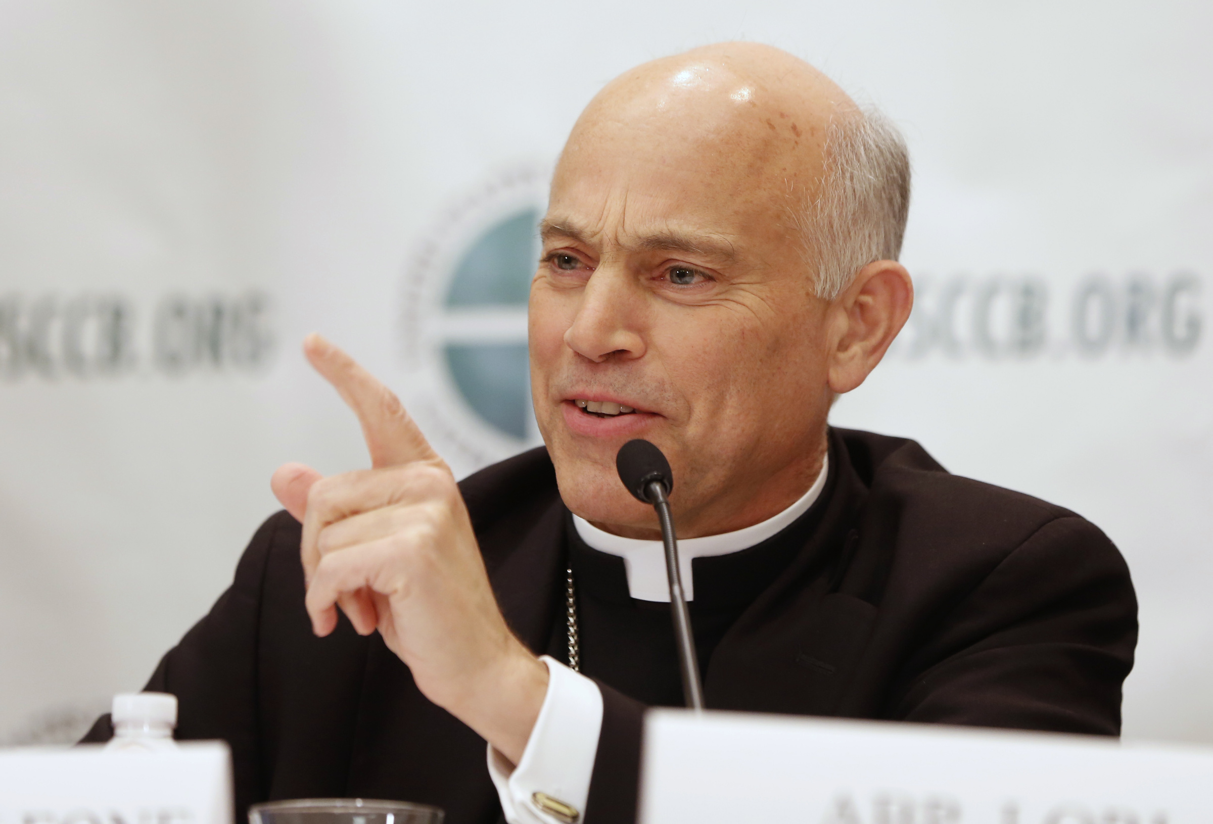 Archbishop Cordileone answers a question during news conference in Baltimore