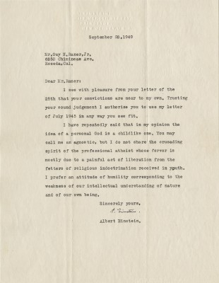 Profile-in-History-2015.Lot49_ImageA.-Einstein-Letter-to-Guy-H-Raner-Jr.-1949-on-is-Ideas-of-God