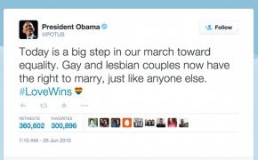 #LoveWins – President Obama Tweets Support For the LBGTQ Community and Supreme Court Ruling