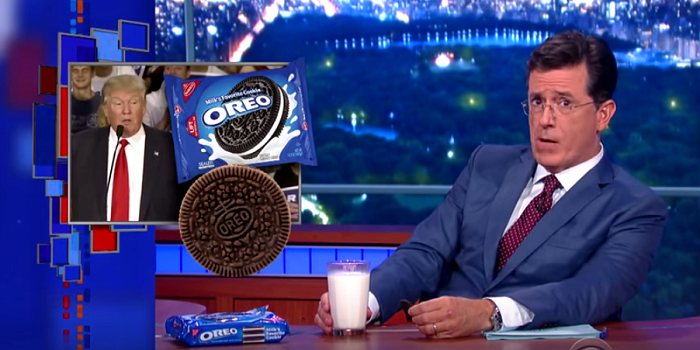 Stephen Colbert pokes fun at Donald Trump's comments regarding Mondelez moving their Oreo factory to Mexico during the first week of The Late Show with Stephen Colbert. Source: screenshot