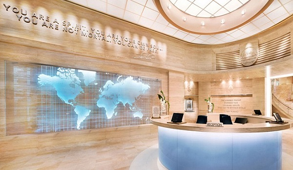The Scientology philosophy 'You are a spirit. You are your own soul. You are not mortal, You can be free,' greets you at the reception desk.