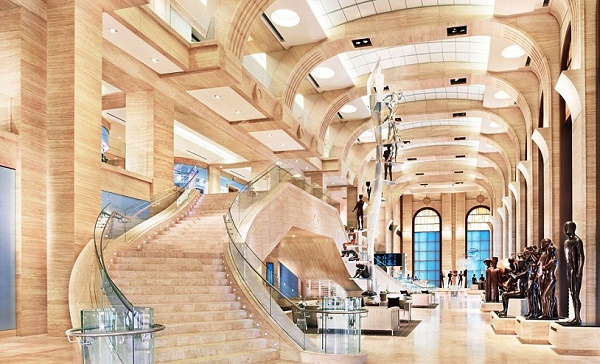 The Grand Atrium of the 'spiritual headquarters' in Florida is three stories high and is the length of a city block.