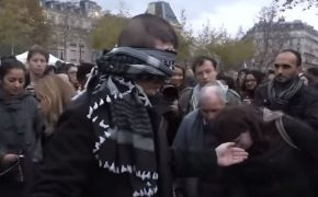 "Blindfolded Muslim Man Asks ""Do you trust me?""; Hugs Hundreds in Paris"