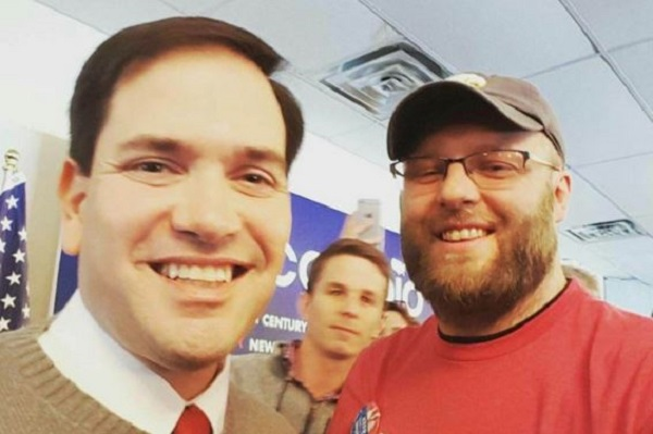 Justin Scott with presidential candidate Marco Rubio.