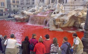 Rome to Honor Christian Martyrs with Blood Red Trevi Fountain