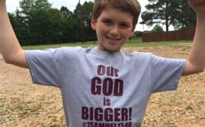 """Our God is Bigger"" Shirts Protest Deleted Bible Verse"
