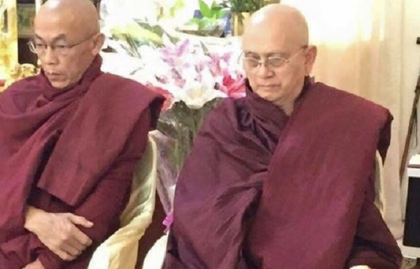 Ordination of Thein Sein (right) into the Sangha