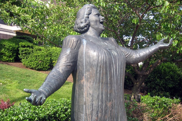 Kate Smith statue in the South Philadelphia sports complex that houses the Phillies, Eagles and Flyers professional sports franchises.