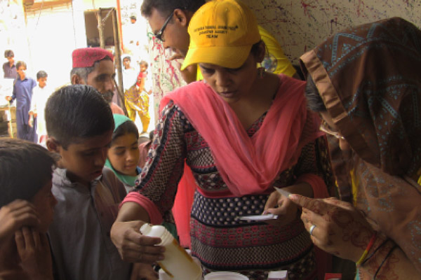 Responding to disasters in Pakistan.