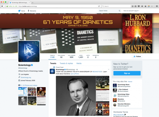 Scientology Dianetics Twitter Cover