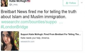 Breitbart Editor Fired Over Anti-Muslim Tweets; Defends Herself on Fundraising Page