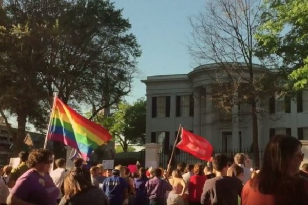 HB 1523 protesters outside Mississippi Governor's Mansion. Photo via, video screenshot