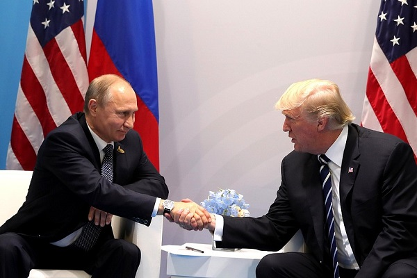Vladimir Putin and U.S. President Donald Trump meeting at the G-20 summit.  President of Russia is licensed under CC BY 4.0
