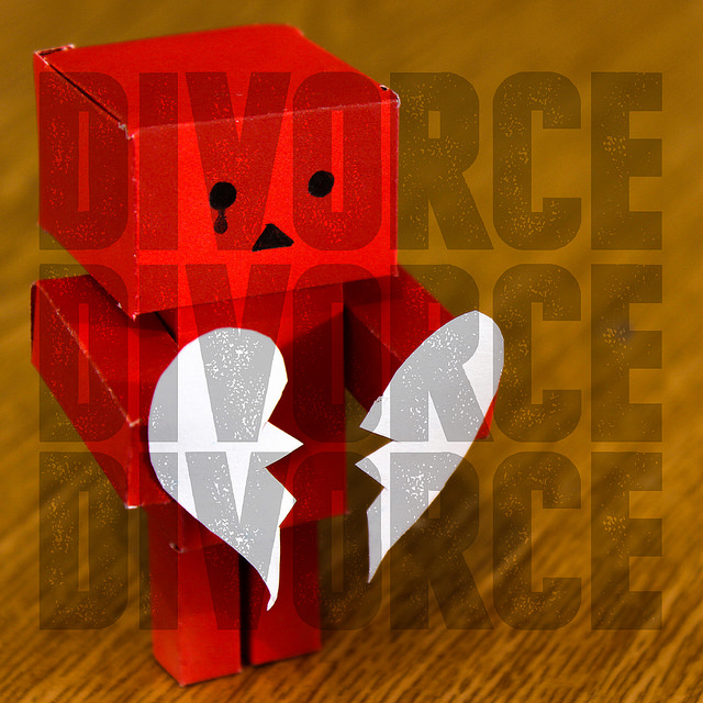 Poster with Broken Heart and Word Divorce