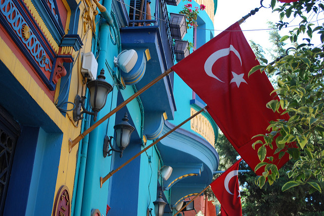 Picture of Street with Turkish Flag