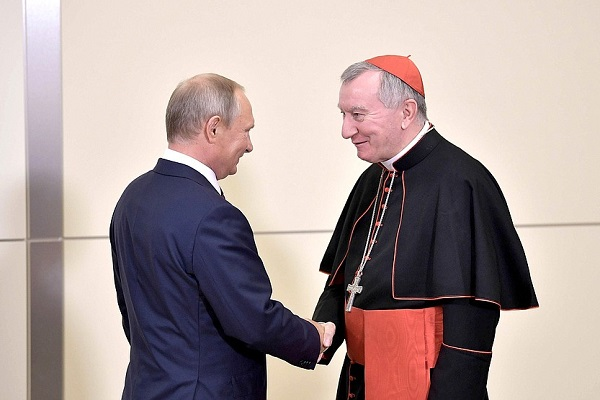 With Vatican Secretary of State Cardinal Pietro Parolin President of Russia is licensed under CC BY 4.0