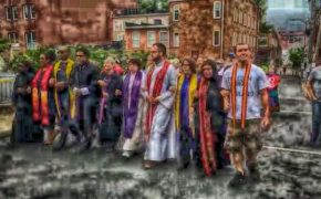 Clergy march in protest through Charlottesville and confront white supremacists