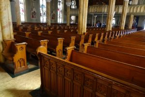 Row of empty pews