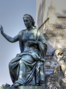 Nineteenth century allegorical statue on the Congress Column in Belgium depicting religious freedom