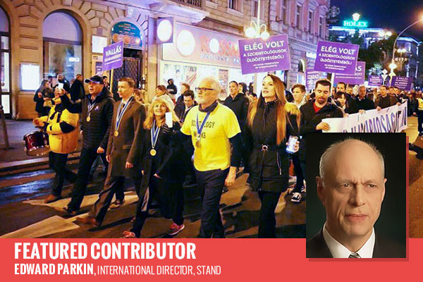 Jeff Pomerantz leading the November 18, 2017, religious freedom march in Budapest, Hungary
