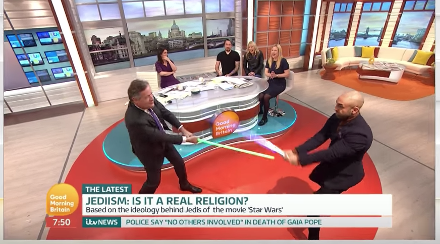 Piers Morgan Has Theology Debate On Jedi Ends in Lightsaber Battle
