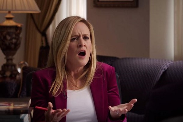 "Samantha Bee: ""when I hear Donald Trump talk about Jesus I feel like there's so much vomit inside me that it could blow my eyeballs out of my head"" Via video screenshot"