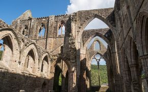 Image of a Ghostly Hooded Monk Captured in the Ruins of Tintern Abbey