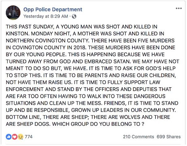 Opp, Alabama Police Blames Satan for Increase in Homicides