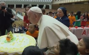 Pope Francis Celebrates 82nd Birthday with Cake with Children from the Vatican's Health Clinic
