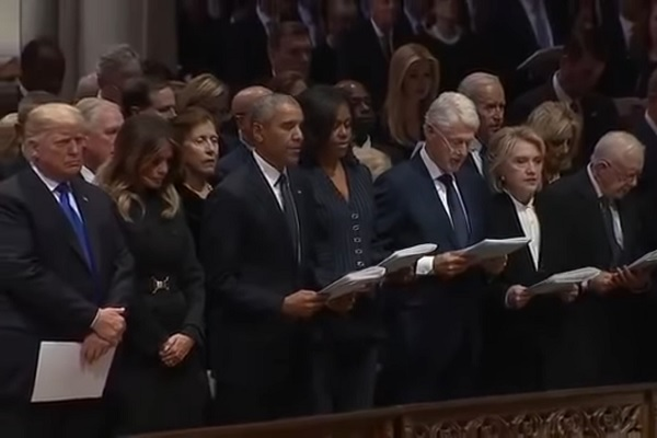 Trump Taking Flak for Not Reading the Apostles' Creed at Former President's Funeral
