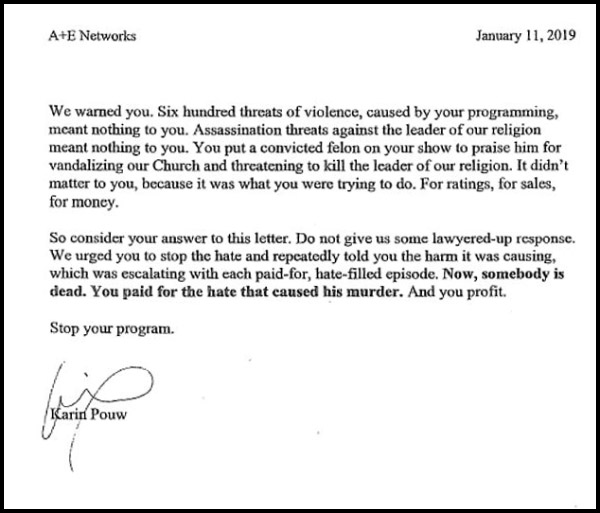 Scientology Letter to A&E Networks