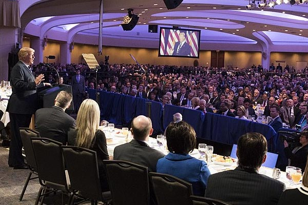 President Donald Trump at last year's National Prayer Breakfast.