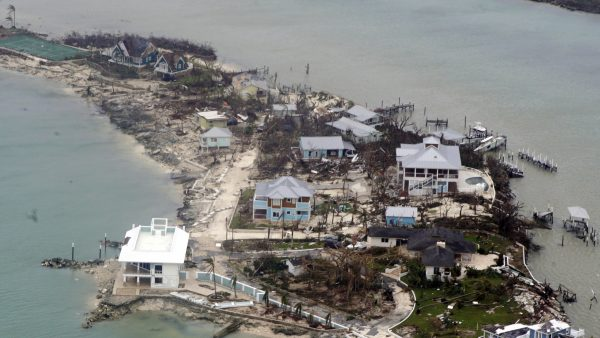 An aerial view of houses in the Bahamas from a Coast Guard Elizabeth City C-130 aircraft after Hurricane Dorian shifts north Sept. 3, 2019. Hurricane Dorian made landfall Saturday and intensified into Sunday. (U.S. Coast Guard photo by Petty Officer 2nd Class Adam Stanton/Released)