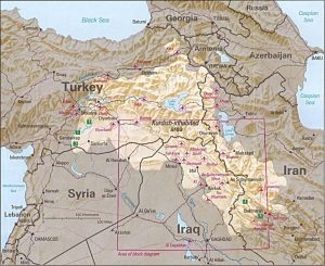 1992 map of Kurdish inhabited area in the Middle East